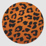 Estampado leopardo grande de moda anaranjado pegatina redonda