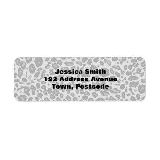 Estampado leopardo gris etiqueta de remite