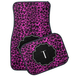 Estampado leopardo inicial con monograma del negro alfombrilla de auto
