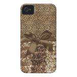 Estampado leopardo, lentejuela, cinta, del arco de iPhone 4 Case-Mate carcasa