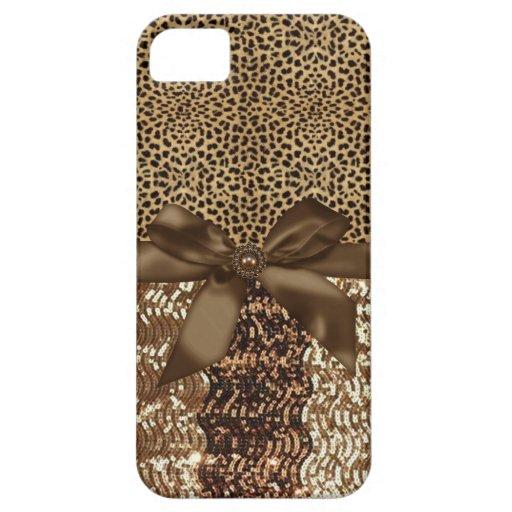 Estampado leopardo, lentejuela, cinta, del arco de iPhone 5 protectores