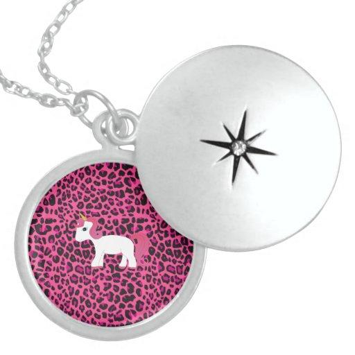 Estampado leopardo lindo del rosa del unicornio pendiente