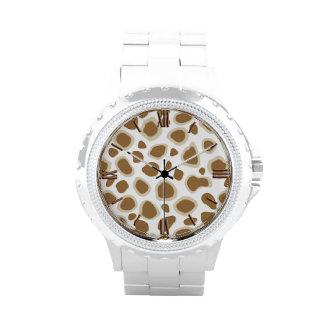 Estampado leopardo - moreno de color topo y blanco relojes de mano