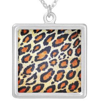 Estampado leopardo neckless colgante cuadrado
