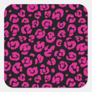 Estampado leopardo negro de las rosas fuertes pegatina cuadrada