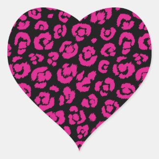 Estampado leopardo negro de las rosas fuertes pegatina en forma de corazón