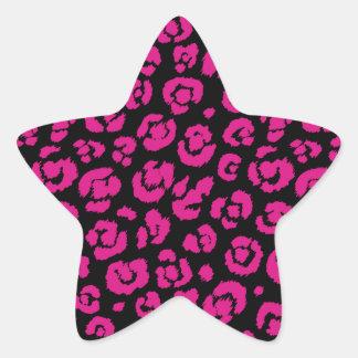 Estampado leopardo negro de las rosas fuertes pegatina en forma de estrella