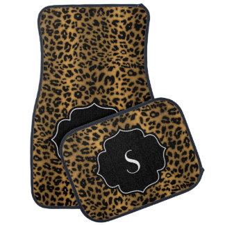 Estampado leopardo negro inicial con monograma de  alfombrilla de auto