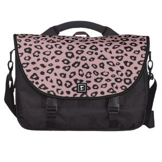 Estampado leopardo negro rosado bolsas de portátil