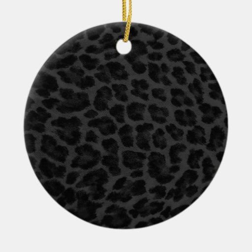 Estampado leopardo negro y gris adorno navideño redondo de cerámica