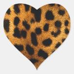 estampado leopardo pegatina en forma de corazón