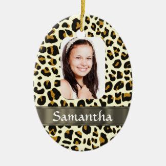 Estampado leopardo personalizado adorno ovalado de cerámica