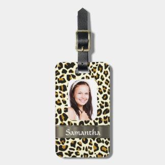 Estampado leopardo personalizado etiquetas para maletas