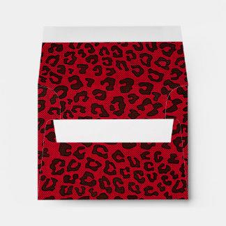Estampado leopardo punteado del rojo del arándano sobres
