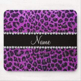 Estampado leopardo púrpura de neón conocido de enc tapetes de raton