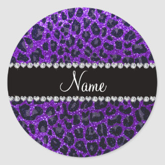 Estampado leopardo púrpura del brillo del añil pegatina redonda