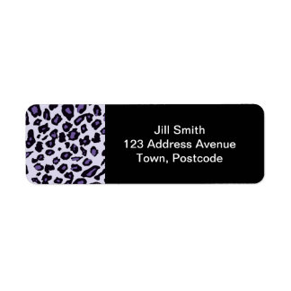 Estampado leopardo púrpura etiquetas de remite