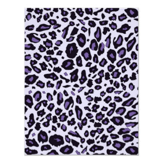 Estampado leopardo púrpura invitación 10,8 x 13,9 cm