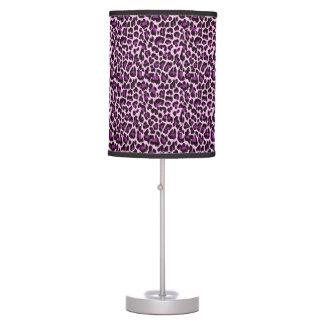 Estampado leopardo púrpura lámpara de mesilla de noche