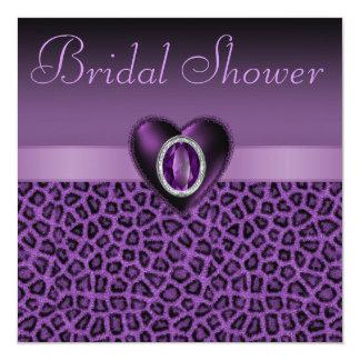 """Estampado leopardo púrpura y ducha nupcial de los invitación 5.25"""" x 5.25"""""""