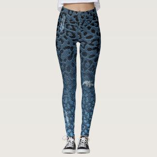 Estampado leopardo rasgado Digitaces azul de Jean Leggings