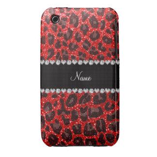 Estampado leopardo rojo de neón conocido de encarg iPhone 3 Case-Mate cobertura