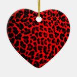 Estampado leopardo rojo ornato