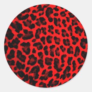 Estampado leopardo rojo pegatinas redondas