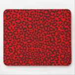 Estampado leopardo rojo y negro tapete de ratones