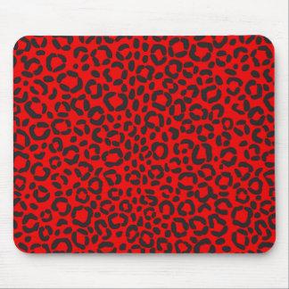 Estampado leopardo rojo y negro alfombrilla de ratón