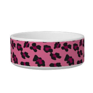 Estampado leopardo rosado comedero para mascota