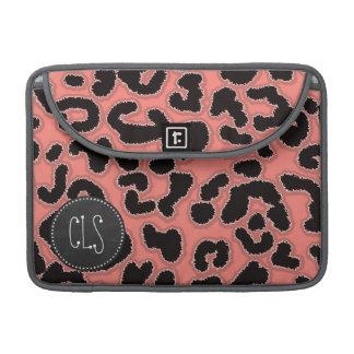 Estampado leopardo rosado coralino; Mirada de la Funda Para Macbooks