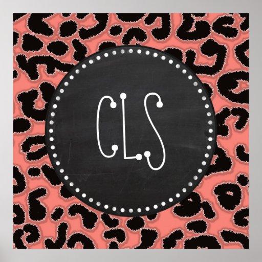 Estampado leopardo rosado coralino; Mirada de la p Posters