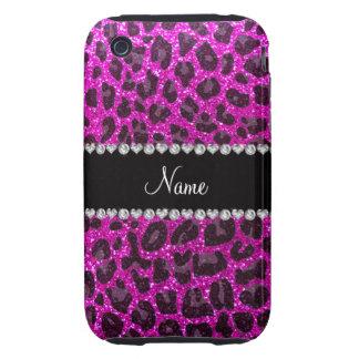 Estampado leopardo rosado de neón conocido de enca tough iPhone 3 funda