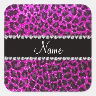 Estampado leopardo rosado de neón conocido de colcomanias cuadradas