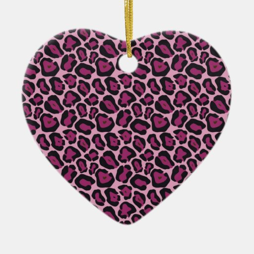 Estampado leopardo rosado adorno de cerámica en forma de corazón