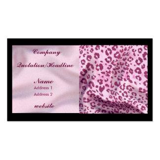 estampado leopardo rosado del satén plantillas de tarjeta de negocio