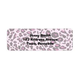 Estampado leopardo rosado etiquetas de remite
