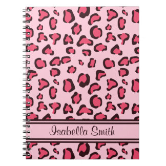 Estampado leopardo rosado falso con nombre libretas
