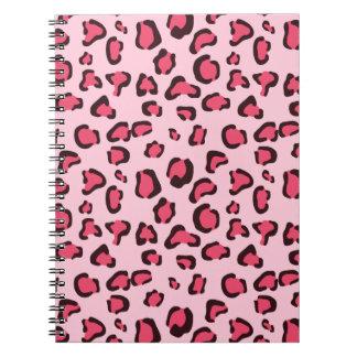 Estampado leopardo rosado falso cuadernos