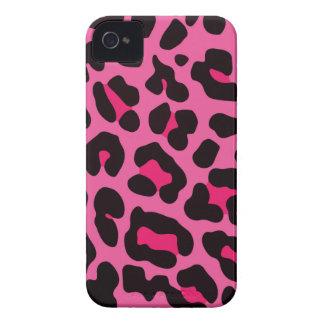 Estampado leopardo rosado femenino iPhone 4 Case-Mate fundas