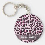 Estampado leopardo rosado llavero personalizado