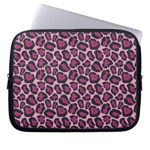 Estampado leopardo rosado mangas computadora