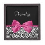 Estampado leopardo rosado oscuro vivaz de la cinta caja de joyas de calidad