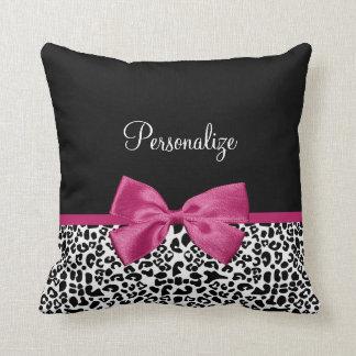 Estampado leopardo rosado oscuro vivaz de la cinta cojin
