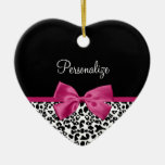 Estampado leopardo rosado oscuro vivaz de la cinta ornaments para arbol de navidad