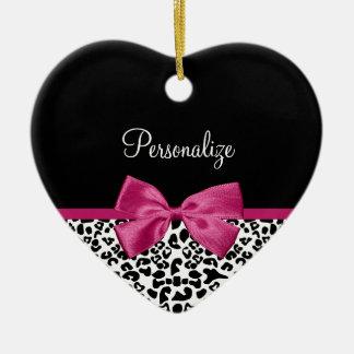Estampado leopardo rosado oscuro vivaz de la cinta adorno de cerámica en forma de corazón
