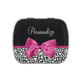 Estampado leopardo rosado oscuro vivaz de la cinta jarrones de caramelos