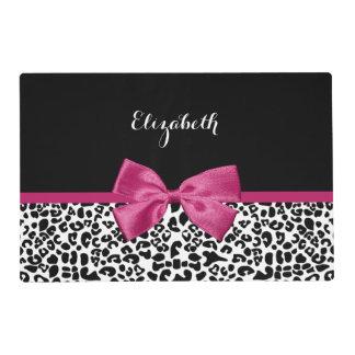 Estampado leopardo rosado oscuro vivaz de la cinta tapete individual