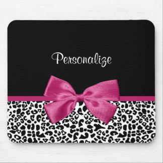 Estampado leopardo rosado oscuro vivaz de la cinta alfombrillas de ratón